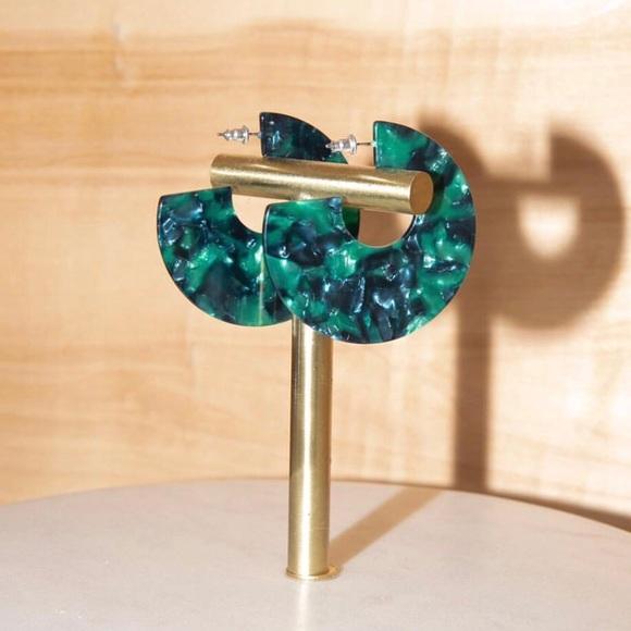 0d67d75c9c6 Emerald Tortoise Statement Earrings